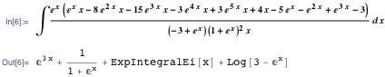 \[Integral](E^x (E^x x-8 E^(2 x) x-15 E^(3 x) x-3 E^(4 x) x+3 E^(5 x) x+4 x-5 E^x-E^(2 x)+E^(3 x)-3))/((-3+E^x) (1+E^x)^2 x) \[DifferentialD]x