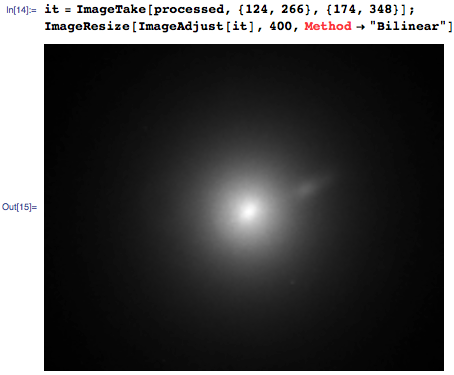 "In[14]:= it=ImageTake[processed,{124,266},{174,348}];ImageResize[ImageAdjust[it],400,Method->""Bilinear""]"