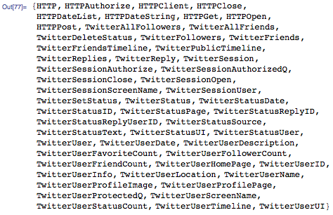 Functions in the Twitter.m package
