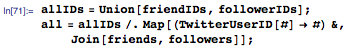 allIDs=Union[friendIDs,followerIDs]; all=allIDs/.Map[(TwitterUserID[#]->#)&,Join[friends,followers]];