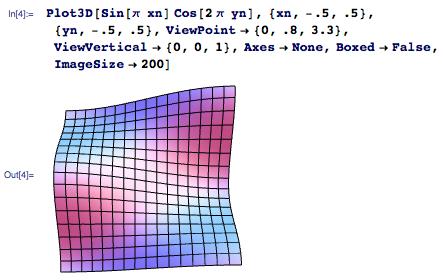 Plot3D[Sin[\[Pi]xn]Cos[2\[Pi]yn],{xn,-.5,.5},{yn,-.5,.5},ViewPoint->{0,.8,3.3},ViewVertical->{0,0,1},Axes->None,Boxed->False,ImageSize->200]