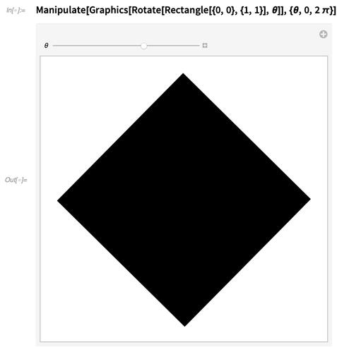 Manipulate[Graphics[Rotate[Rectangle[{0, 0}, {1, 1}], Θ]], {Θ, 0, 2 π}]