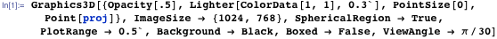 Graphics3D[{Opacity[.5], Lighter[ColorData[1, 1], 0.3`], PointSize[0], Point[proj]}, ImageSize → {1024, 768}, SphericalRegion → True, PlotRange → 0.5`, Background → Black, Boxed → False, ViewAngle → π/30]