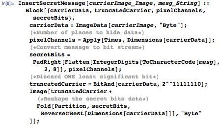 Our full InsertSecretMessage function