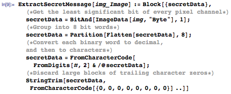 Our ExtractSecretMessage function