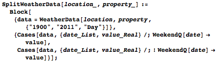 Splitting the weather data into weekend and weekday categories with actual values