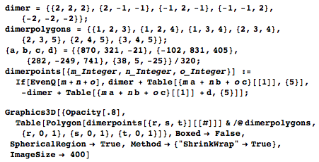 Mathematica code for the 16-tetrahedra cell