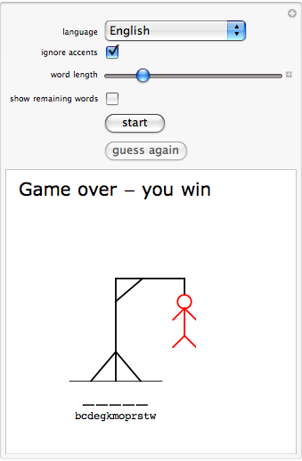 """""""Hangman Word Game for a Computer Player"""""""