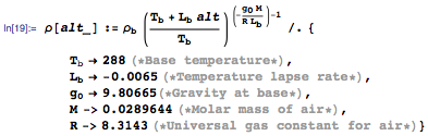 Model for air density and some key values
