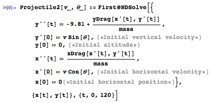Drag formula in the system