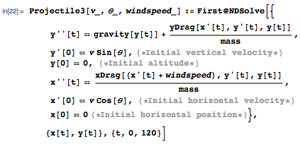 Gravity and wind speed parameter added to system of equations
