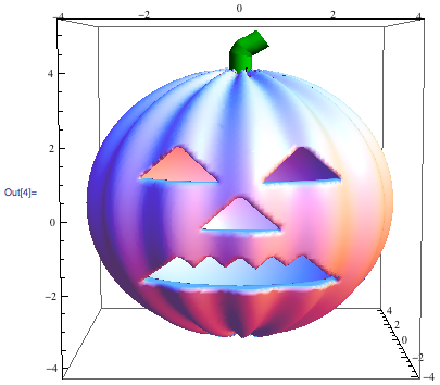 The rendered pumpkin with stem and mouth