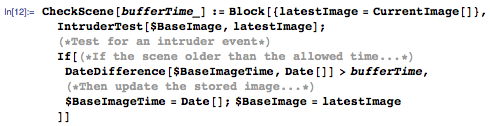 Checking current scene against time lagged store of the image