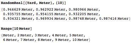 10 random quantities between 1 Yard and 1 Meter