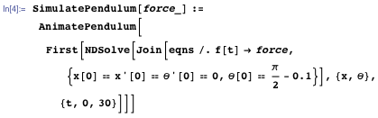 Animating the system for any control force f(t)