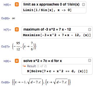 Finding a limit of a function or the maximum of a function or solving an equation