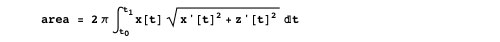 Expression given in MathWorld for the area of a surface of revolution generated by rotating the parametric curve {x(t), z(t)} about the z-axis