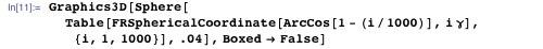 Graphics3D[Sphere[Table[FRSphericalCoordinate[ArcCos[1 - (i/1000)], iγ], {i, 1, 1000}], .04], Boxed → False]
