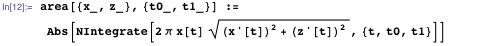 NIntergrate function gives area as a function of the curve parameter t
