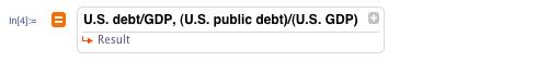 U.S. debt/GDP, (U.S. public debt)/(U.S. GDP)