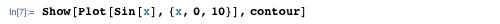 Show[Plot[Sin[x], {x, 0, 10}], contour]
