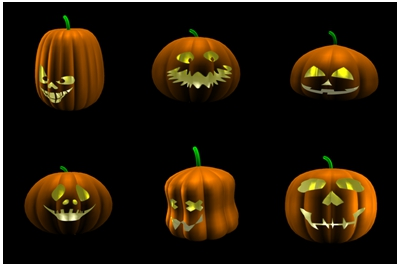 Six examples of a carved pumpkin