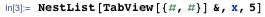 NestList[TabView[{#, #}] & ,x ,5]