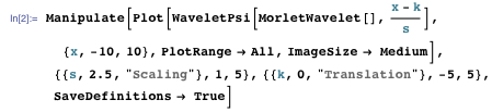 Using the Morlet wavelet to show how the scaling and translation is accomplished