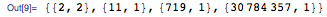 {{2, 2}, {11, 1}, {719, 1}, {30784357, 1}}