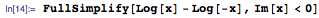 FullSimplify[Log[x] - Log[-x], Im[x] < 0]