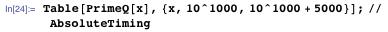 Table[PrimeQ[x], {x, 10^1000, 10^1000 + 5000}]; // AbsoluteTiming