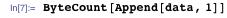 ByteCount[Append[data, 1]]