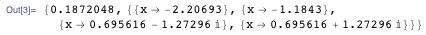 {0.1872048, {{x → -2.20693}, {x → -1.1843}, {x → 0.695616 - 1.27296 &#F74E;}, {x → 0.695616 + 1.27296 I}}}