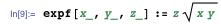 expf[x_, y_, z_] := z Sqrt[x y]