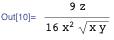 (9 z)/(16 x^2 Sqrt[x y])
