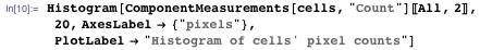 """Histogram[ComponentMeasurements[cells, """"Count""""][[All, 2]], 20, AxesLabel → {""""pixels""""}, PlotLabel → """"Histogram of cells' pixel counts""""]"""
