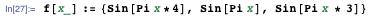 f[x_] := {Sin[Pi x*4], Sin[Pi x], Sin[Pi x * 3]}