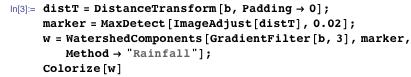 "distT = DistanceTransform[b, Padding → 0]; marker = MaxDetect[ImageAdjust[distT], 0.02]; w = WatershedComponents[GradientFilter[b, 3], marker, Method → ""Rainfall""]; Colorize[w]"