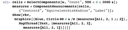 """cells = SelectComponents[w, """"Count"""", 500 < # < 3000 &]; measures = ComponentMeasurements[cells, {""""Centroid"""", """"EquivalentDiskRadius"""", """"Label""""}]; Show[rbc, Graphics[{Blue, Circle @@ # & /@ (measures[[All, 2, 1 ;; 2]]), MapThread[Text, {measures[[All, 2, 3]], measures[[All, 2, 1]]}]}]]"""