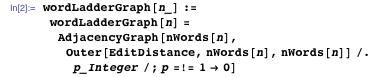 wordLadderGraph[n_] := wordLadderGraph[n] = AdjacencyGraph[nWords[n], Outer[EditDistance, nWords[n], nWords[n]] /. p_Integer /; p =!= 1 → 0]