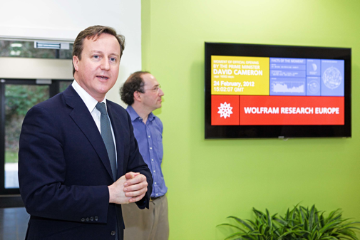 United Kingdom Prime Minister David Cameron with Conrad Wolfram