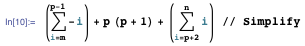 Expression giving the value expressed by the sequential integers m to n with multiplication in position p