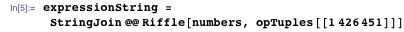 expressionString = StringJoin @@ Riffle[numbers, opTuples[[1426451]]]