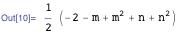 1/2 (-2 - m + m^2 + n + n^2)