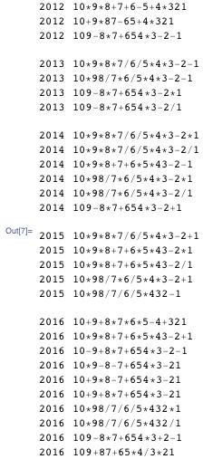 "{  {2012, ""10*9*8+7+6-5+4*321""}, {2012, ""10+9*87-65+4*321""}, {2012, ""109-8*7+654*3-2-1""}, {2013, ""10*9*8*7/6/5*4*3-2-1""}, {2013, ""10*98/7*6/5*4*3-2-1""}, {2013, ""109-8*7+654*3-2*1""}, {2013, ""109-8*7+654*3-2/1""}, {2014, ""10*9*8*7/6/5*4*3-2*1""}, {2014, ""10*9*8*7/6/5*4*3-2/1""}, {2014, ""10*9*8+7+6*5*43-2-1""}, {2014, ""10*98/7*6/5*4*3-2*1""}, {2014, ""10*98/7*6/5*4*3-2/1""}, {2014, ""109-8*7+654*3-2+1""}, {"""", """"}, {2015, ""10*9*8*7/6/5*4*3-2+1""}, {2015, ""10*9*8+7+6*5*43-2*1""}, {2015, ""10*9*8+7+6*5*43-2/1""}, {2015, ""10*98/7*6/5*4*3-2+1""}, {2015, ""10*98/7/6/5*432-1""}, {"""", """"},  {2016, ""10+9+8*7*6*5-4+321""}, {2016, ""10*9*8+7+6*5*43-2+1""}, {2016, ""10-9+8*7+654*3-2-1""}, {2016, ""10*9-8-7+654*3-21""}, {2016, ""10+9*8-7+654*3-21""},  {2016, ""10+9+8*7+654*3-21""}, {2016, ""10*98/7/6/5*432*1""}, {2016, ""10*98/7/6/5*432/1""}, {2016, ""109-8*7+654*3+2-1""}, {2016, ""109+87+65*4/3*21""} }"