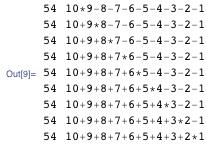 "{ {54, ""10*9-8-7-6-5-4-3-2-1""}, {54, ""10+9*8-7-6-5-4-3-2-1""}, {54, ""10+9+8*7-6-5-4-3-2-1""}, {54, ""10+9+8+7*6-5-4-3-2-1""}, {54, ""10+9+8+7+6*5-4-3-2-1""}, {54, ""10+9+8+7+6+5*4-3-2-1""}, {54, ""10+9+8+7+6+5+4*3-2-1""}, {54, ""10+9+8+7+6+5+4+3*2-1""}, {54, ""10+9+8+7+6+5+4+3+2*1""} }"