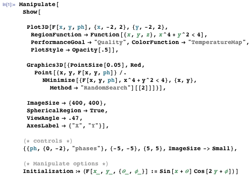 Code that numerically solves the challenging problem of constrained global optimization by finding the minimum on a limited surface region