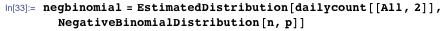 negbinomial = EstimatedDistribution[dailycount[[All, 2]], NegativeBinomialDistribution[n, p]]