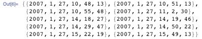 {{2007, 1, 27, 10, 48, 13},  {2007, 1, 27, 10, 51, 13},  {2007, 1, 27, 10, 55, 48},  {2007, 1, 27, 11, 2, 30},  {2007, 1, 27, 14, 18, 27},  {2007, 1, 27, 14, 19, 46},  {2007, 1, 27, 14, 29, 47},  {2007, 1, 27, 14, 50, 22},  {2007, 1, 27, 15, 22, 19},  {2007, 1, 27, 15, 49, 13}}