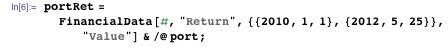 "portRet = FinancialData[#, ""Return"", {{2010, 1, 1}, {2012, 5, 25}}, ""Value""] & /@ port;"